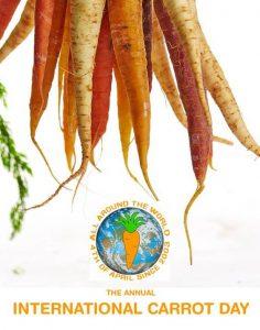 Imágenes de zanahorias y el emblema oficial del International Carrot Day para ilustrar un ejemplo de día para celebrar la gastronomía