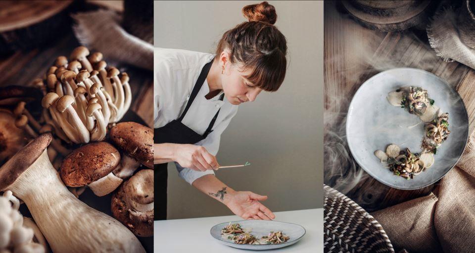 Collages de imágenes de elaboración de platos veganos, plant-based, por Carolina H. Chinea