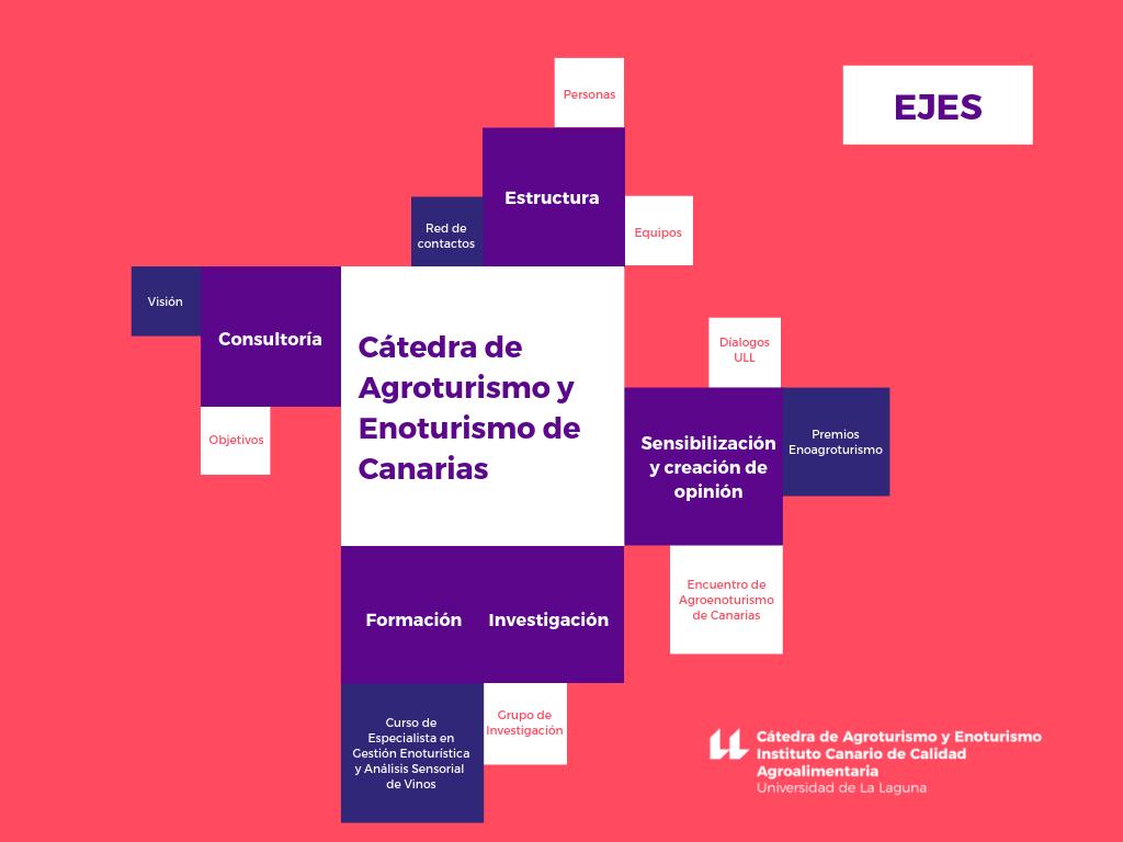 Ejes de la Cátedra de Agroturismo y Enoturismo de Canarias, en un esquema explicativo de sus radios de acción