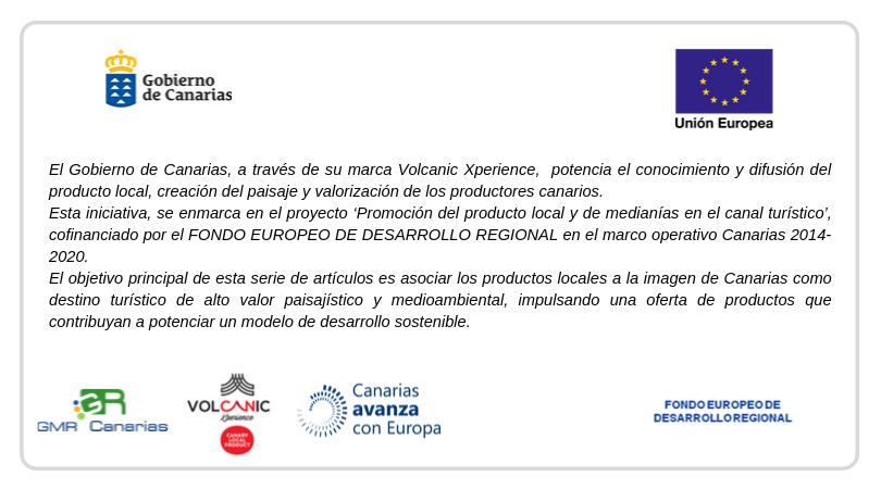 Banner informativo Promoción del producto local Financiado por el FONDO EUROPEO DE DESARROLLO REGIONAL_GMR Canarias_Volcanic Xperience