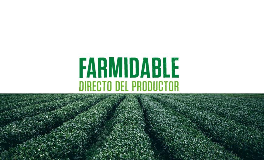 Logotipo de Farmidable, acompañado de una imagen de campos de cultivo para identificar la actividad de food delivery responsable
