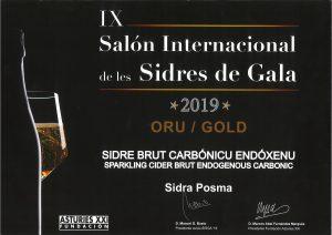 Imagen del galardón obtenido por Posma, Sidra de Canarias